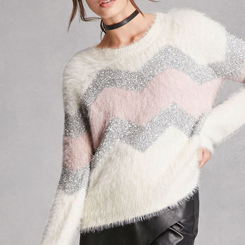 Fuzzy Zigzag Graphic Sweater