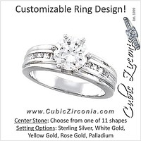 Cubic Zirconia Engagement Ring- The Lakesha (Customizable 9-stone with Princess Channel Band)