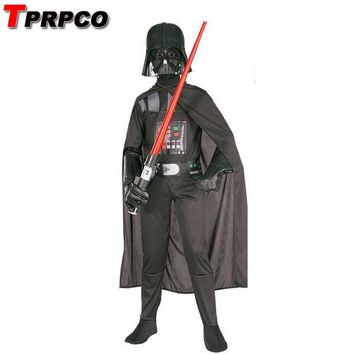 Cool TPRPCO Kids Darth Vader Costume Darth Vader Jumpsuit Black Clothing With Cape Christmas Holiday Cosplay For Boys Girls N124AT_93_12
