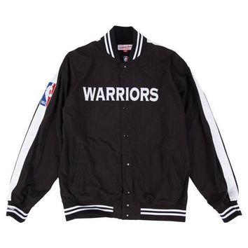 Mitchell & Ness Golden State Warriors Nothing But Net Warm Up Jacket In Black - Beauty Ticks
