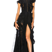 Zuhair Murad Ruffle & Lace Trim Gown in Black | FWRD