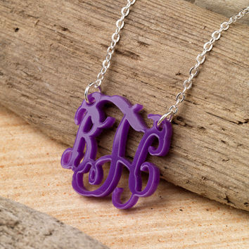 3 Letter Monogram Acrylic Necklace