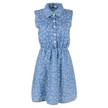 New Vestidos Summer Dresses Fashion Women Lady Sleeveless Casual Slim Denim Dresses