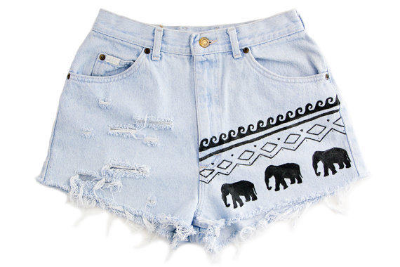 Tribal/Aztec Elephant and Waves Shorts Hand by floralfireworks