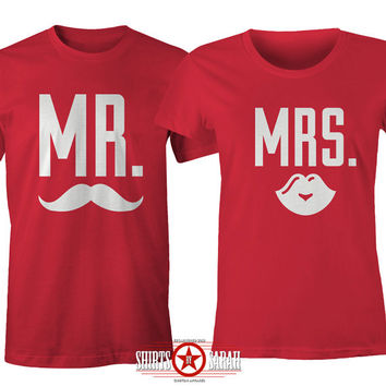 Matching Couple's Shirts - Mr. Mrs. Wedding Shirts - Mustache Lips T-Shirt Cute Husband Wife Tees