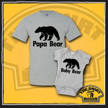 Papa Bear Baby Bear T Shirt - Shirt - Tee - Set - Father Baby Match - New Baby - New Dad - Toddler - Baby Shower - Gift - Present - Daddy