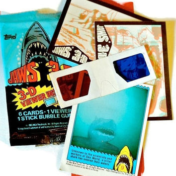 Vintage JAWS Cards HALLOWEEN FAVORS 1983 Shark Movie Loot Bag Party Gifts Great White Shark Week 3D Glasses Jaws Fan Memorabilia Topps Cards