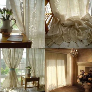 Tab Top French Country Cotton Linen Crochet Lace Curtain Panel Drape for Living Room