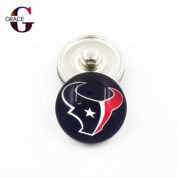 Houston Texans Football Team Sports Charms 18mm Replaceable Ginger Glass Snap Buttons Fit Snap Women Bracelets&Bangles Jewelry