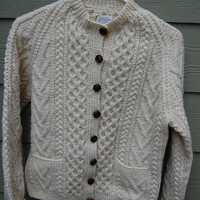 Vintage 100% Wool Handknit in the Republic of Ireland for Saks Fifth Avenue Fisherman Cardigan Sweater