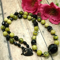 Black and Yellow Fire Agate Jet Czech Glass 24 inch Handmade Necklace