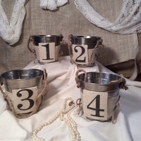 Wedding table numbers double sided pale bucket with burlap numbers table decoration country rustic beach wedding