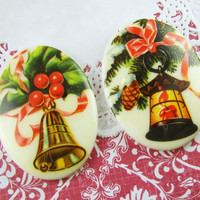 Retro Vintage Christmas Bell & Lantern Cabochons 40x30mm Mixed Set of 2