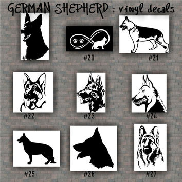 GERMAN SHEPHERD vinyl decals - 19-27 - vinyl sticker - car window stickers - working dog - pets - dog decal