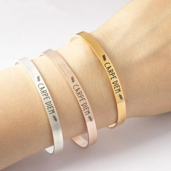 "Inspirational quote bracelet ""Carpe Diem"""