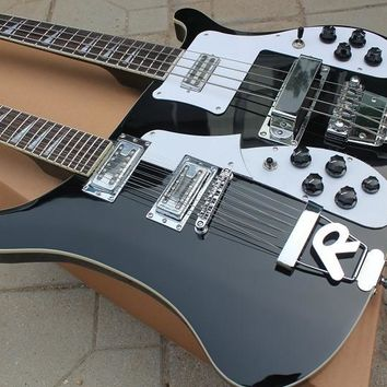 Rare double neck electric guitar 12 strings guitar/4 strings 4003 Electric bass In Black top qualty 121218