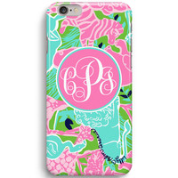 Animal Pattern Zoo Custom Monogram Inspired Lilly Pulitzer iPhone 6 Case, iPhone 5S Case