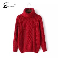 CHRLEISURE Winter Turtleneck Sweater Women Sweaters and Pullovers Fashion Oversized Knitted Sweater Femme Candy Color 7 Color