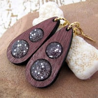 Wooden Sparkle Earrings - Grimm Spark Purple Heart and Gold