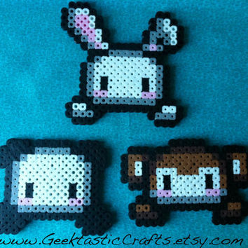 Kawaii Bunny, Panda and Monkey Perler Bead Magnet or Keychain Set