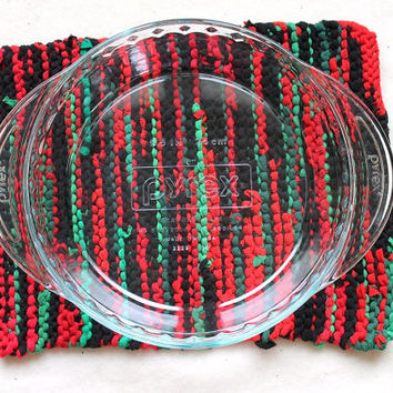 Christmas Trivet Bright Red Green Black Rustic Holiday Decor Modern Country Log Cabin 9x12 Pie Plate Size --US Shipping Included