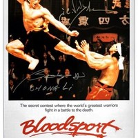"Jean Claude Van Damme & Bolo Yeung ""Chong Li"" Signed Autographed ""Bloodsport"" 16x24 Movie Poster (ASI COA)"