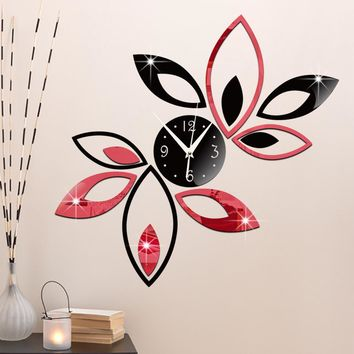 #s DIY The clock on the wall gift Mirror Wall stickers Clocks and watches fashion Wall clock Double color Lotus clock