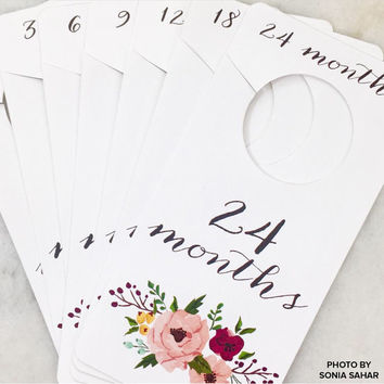 Floral Printable Baby Nursery Closet Dividers and Organizers - print yourself - Baby Girl, Nursery Decor, Nursery Organization