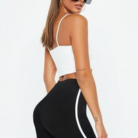 Missguided - Black Thin Striped Biker Shorts