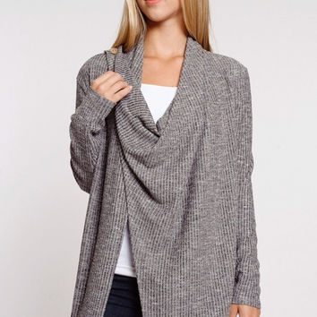 Cozy On Up Button Cardigan in Black