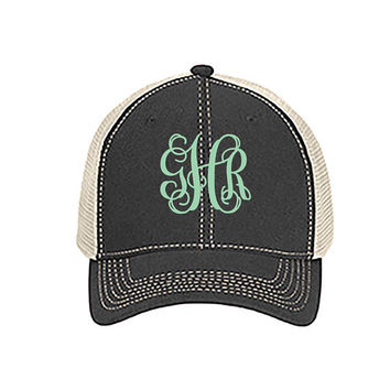 Monogrammed Comfort Color Trucker Cap - Great for Graduation Gifts, Spring Break, Beach, and Summer