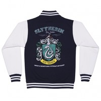 Women's Navy Harry Potter Slytherin Team Quidditch Varsity Jacket