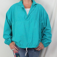 Lands End L Mens 1x sizeWomens Teal Blue Lightweight Rain Jacket Pull On Nylon Outdoor