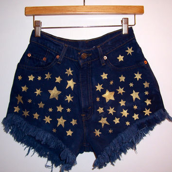 Golden Stars High Waisted Denim Shorts