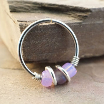 18 or 20 Gauge Purple Nose Hoop Ring or Cartilage Hoop Earring