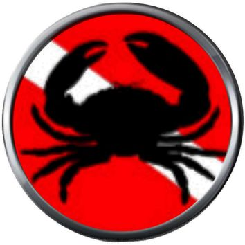 Crab On Diver Down Flag Scuba Dive Deep 18MM - 20MM Snap Jewelry Charm New Item