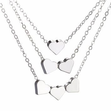 Hesiod Silver Color Love Heart Necklace Choker Collares Multi-layer Short Chain Heart Pendant Necklaces for Women Lover Gifts