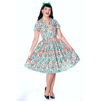 Francis Dress in Hibiscus Print