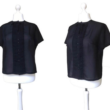 1950's Black Vintage Blouse - 50's Blouse - Courtaulds Tricel - Large - Button Down Short Sleeve Top