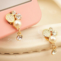 1PC Bling Crystal Pearl w/Dangling Crystal Apple iPhone Home Button Sticker, Cell Phone Charm for iPhone 5,4,4g,4s
