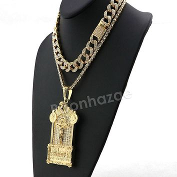 Hip Hop Iced Out Quavo Jesus Last Supper Miami Cuban Choker Chain Necklace L55