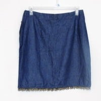 Just Blu Denim Skirt Size 16 New Beaded Fring