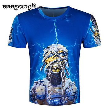 Very Personality Men Iron Maiden T Shirts 3D Printed Skull t shirt Cotton Short-Sleeve compression shirt Skeleton funny t shirt
