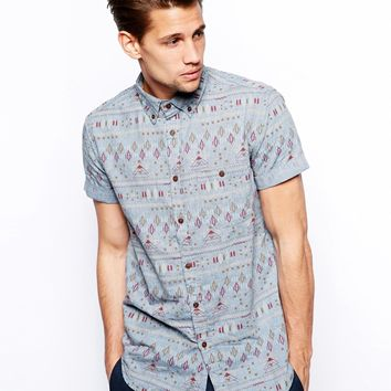 Pull&Bear Western Chambray Shirt With All Over Print