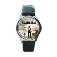 The Walking Dead Black Leather Watch Wristwatch UNISEX - Rick Grimes Andrew Lincoln