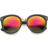 High Fashion Horn Rimmed Colored Mirror Lens Oversize Round Sunglasses 55mm