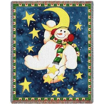 HANGING ON THE MOON CHRISTMAS  AFGHAN THROW BLANKET