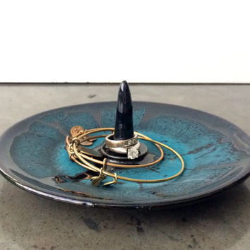Black & Turquoise Ceramic Ring Holder and Jewelry Dish