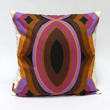Vintage fabric cushion cover, 70's, retro throw pillow, 40x40 / 16x16