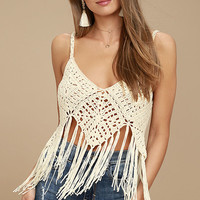 Great Escape Cream Crochet Crop Top